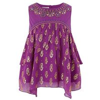 Monsoon Tansy Foil Top, Purple, Size Age: 11 Years, Women
