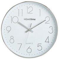Hometime Round Plastic Wall Clock Chrome Raised Numbers 30Cm
