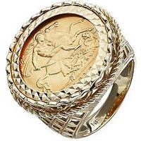 Love GOLD 9 Carat Yellow Gold Half Sovereign Mens Ring, Size S, Men
