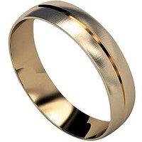 Love GOLD 9 Carat Yellow Gold D Shaped Wedding Band 5 mm, Size U, Women