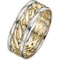 Love GOLD 9 Carat 2 Colour Gold Celtic Wedding Band 7mm, Size V, Women