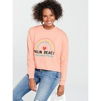 V by Very Palm Beach Rainbow Sweat - Pink, Peach, Size 12, Women