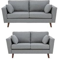 Ideal Home Porter Fabric 3 Seater + 2 Seater Sofa Set - Blue Or Grey (Buy And Save!)