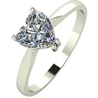 Moissanite 18-Carat White Gold, 1-carat Heart Cut Engagement Ring, Size J, Women