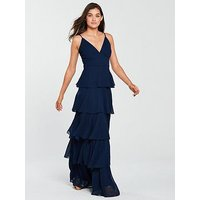 Forever Unique Forever Unique Waterfrill Maxi Dress - Navy