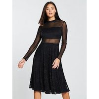 Forever Unique Mesh Body Lace Midi Dress - Black