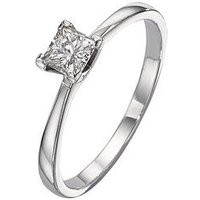 Love DIAMOND 18 Carat White Gold 25pt Diamond Princess Cut Solitaire Ring, Size T, Women