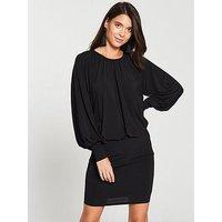V by Very Blouson Top Mini Dress - Black, Black, Size 12, Women