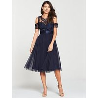 V By Very Bridesmaid Cold Shoulder Prom Dress - Navy