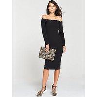 V By Very Scalloped Bodycon Midi Dress - Black