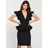 V by Very Peplum V-neck Occasion Dress - Black, Black, Size 10, Women