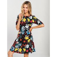V by Very Ruched Sleeve Tea Dress - Print, Print, Size 16, Women