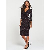 V by Very Ruched Front Ity Bodycon Dress - Print, Mono Print, Size 8, Women