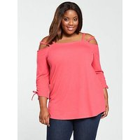 V by Very Curve Strappy Cold Shoulder Top - Pink, Pink, Size 14, Women