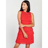 Little Mistress Lace Top Tiered Mini Dress - Red, Burnt Orange, Size 12, Women