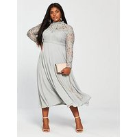 Little Mistress Curve Lace Long Sleeve Maxi Dress - Waterlily