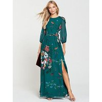 Little Mistress Vintage Fit And Flare Maxi Dress - Floral Print