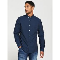 V by Very Long Sleeved Button Down Oxford Shirt, Navy, Size M, Men