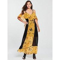 Religion Posie Printed Maxi Dress - Yellow, Cadmium Yellow, Size 22, Women