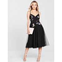 Little Mistress Petite Sequin Tulle Dress - Black