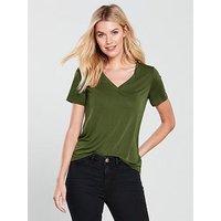 V by Very Cupro V Neck Tshirt, Khaki, Size 10, Women