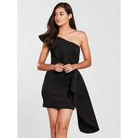 True Violet True Violet One Shoulder Scuba Peplum Mini Dress - Black, Black, Size 14, Women