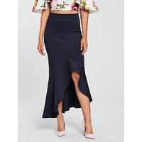 True Violet Hi-Low Scuba Midi Skirt - Navy, Navy, Size 8, Women