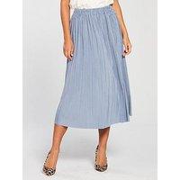 SAMSOE & SAMSOE Samsoe & Samsoe Uma Vevlet Pleated Midi Skirt, Dusty Blue, Size M, Women