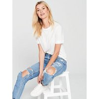 V by Very Wide Binding Basic Tshirt, Ivory, Size 10, Women