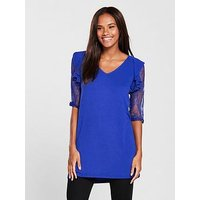 V by Very Lace Sleeve Longline Top - Electric Blue, Electric Blue, Size 12, Women