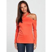 V by Very Cross Strap Top - Orange, Orange, Size 12, Women