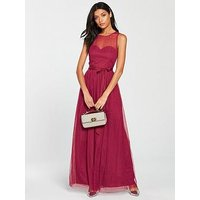 Little Mistress Mesh Top Maxi Dress - Berry, Berry, Size 14, Women