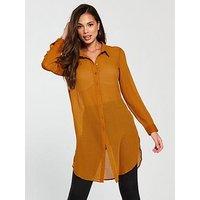 Vero Moda Hanni Long Sleeve Midi Shirt, Thai Curry, Size S=8, Women