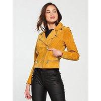 Vero Moda Short Suede Jacket, Thai Curry, Size Xl=14, Women