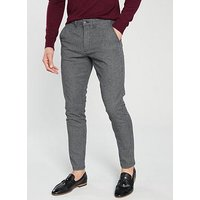 Jack & Jones Intelligence Marco Charles Check Trousers - Light Grey, Light Grey, Size 34, Length Long, Men