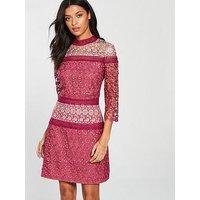 Little Mistress High Neck Crochet Shift Dress - Berry
