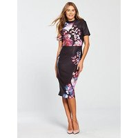 Little Mistress High Neck Floral Bodycon Dress - Printed , Multi, Size 8, Women