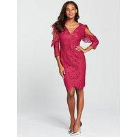 Little Mistress V Neck Cold Shoulder Lace Dress - Berry