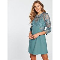 Little Mistress Crochet Shift Dress - Aqua, Aqua, Size 8, Women