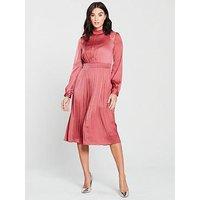 Little Mistress High Neck Sienna Satin Fit And Flare Midi Dress - Blush