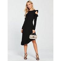 V by Very Asymmetric Frill Hem Cold Shoulder Dress - Black, Black, Size 14, Women