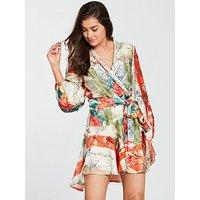 Skeena S Floral Silk Wrap Mini Dress - Orange Blossom, Orange Blossom, Size 12, Women