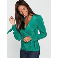 V by Very Tie Cuff Wrap Top - Green, Green, Size 16, Women