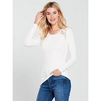 V by Very Lace Panel Shoulder Top, Ivory, Size 22, Women