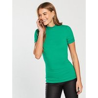 V by Very Lace Polo Fitted Rib Top - Apple Green , Apple Green, Size 16, Women
