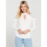 V by Very Lace Shoulder Swing Top - Ivory, Ivory, Size 20, Women