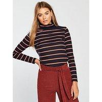 V by Very Ribbed Polo Neck Top - Stripe, Stripe, Size 14, Women