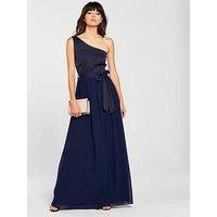 Little Mistress Little Mistress Navy One Shoulder Maxi Dress, Navy, Size 16, Women