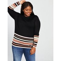 JUNAROSE Mirah Striped Knit Pullover - Black, Black, Size 20-22, Women