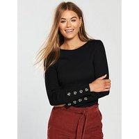 V by Very Button Cuff Rib Top - Black, Black, Size 12, Women